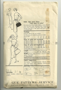 The back of the envelope, showing the back yoke detail.  Don't you love the handbags that the artist included?