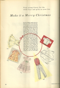 Everything from petticoats to overcoats were featured for children.  Lacking from all these suggestions in this feature were dolls' clothes, surprisingly.