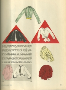 I can do without the jacket with the ball fringe, but I love that wrap blouse featured in the red triangle on the right!