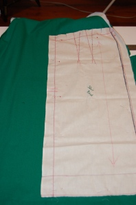 My muslin pattern positioned on the back of the dress.