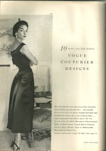 "The VPB magazine from October/November 1953 featured ""10 smart, new high fashion  Vogue Couturier Designs."""