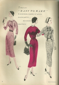 "I love this caption from the same issue:  fashions with "" a minimum number of pieces to sew and fit ... maximum smartness."""