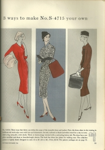 Sketches in Vogue Pattern Book Magazine from October/November 1956 show styles which look very au courant, from the clothing to the hair to the shoes and accessories.  I'd like to be that lady in red!