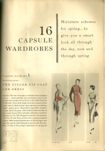 "The February/March issue of Vogue pattern Book Magazine 1954 gives the reader ideas for a ""smart look all through the day, now and through spring."""