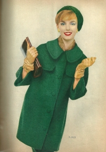 "Shown in ""boxwood green mohair,"" this coat would be quite stylish in 2013."