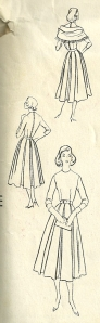 The middle sketch on the back of the envelope shows the kimono sleeve detail on the back of the dress.