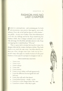 """As a preface to this list, McCardell states:  """"There is a great deal in common between the woman who designs clothes and the woman who knows clothes."""""""