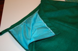 An interior view of the waistband and lining.