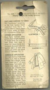 The back of the packeage shows the copyright date, 1966, and includes instructions on attaching the chain.