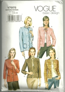 "Here is Vogue 7975, which is the ""go to"" pattern for one of these jackets.  (However, as Susan says, the pattern is just a starting point.)  The vertical princess seams can be seen on these drawings."