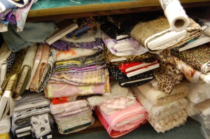 More fabric under the cutting tables.