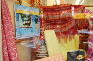 More fabric on display in the window.