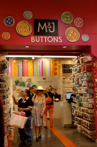 The entrance to the Button section of  M & J Trims.