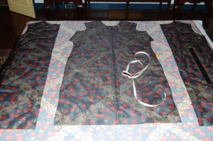 Here are the organza underlining pieces laid out on the fabric.
