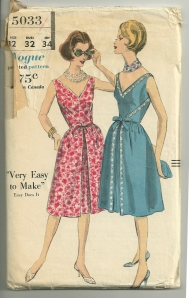 "This pattern is copyright 1960.  ""slightly gathered skirt back of the sleeveless, easy-does-it dress wraps around plain front to fasten at waist-line with tied belt."""