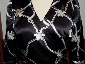 Here is the final placement of the fabric design on the front of the bodice . . .