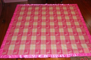The binding sewn on, blanket finished!