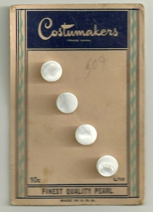 The original price of these buttons was 10 cents.  I picked them up for 50 cents at some point.  It almost seemed a shame to cut them off of the card!
