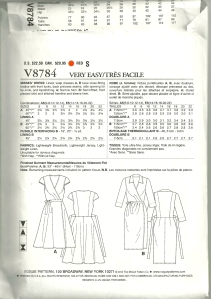 Vogue 8784 diagrams