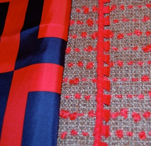 Shown with the lining/blouse fabric...
