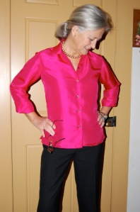 Made from pink silk which i purchased in the 1980s.