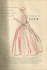 """From bon bon to shocking - from the beach to the ballroom ... pink casts its rosy glow"""