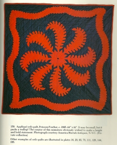 And here is anoter antique example.  Reproduced from The Quilt Engagement Calendar Treasurt, by Cyril I. Nelson and Carter Houck, E. P. Dutton, New York, New York, 1982.