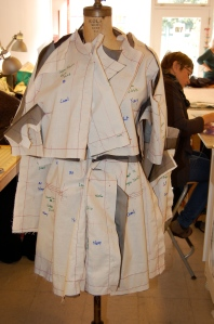 "Here is the ""front"" of the jacket, pinned onto the dress form."