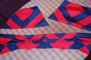Here is the bow/collar ready to be attached to the body of the blouse.