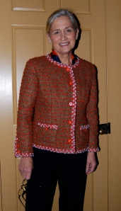 Shown with the jacket.  I really like how the collar on the blouse shows a bit when i have the jacket on.