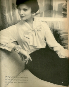 """Part of a feature entitled """"A new era for the soft BLOUSE.""""  In the August/September, 1957 issue of VPB."""