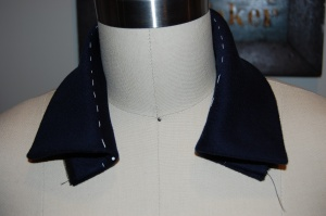 And here is the collar on my dress form.