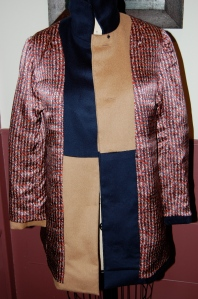 The jacket turned inside out, showing the lining.