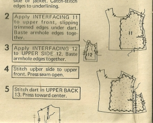 Th instruction sheet gives a good diagram of the small Dior dart tucked into that front side seam.