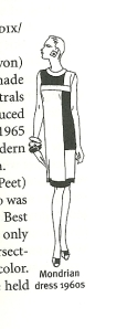 This little sketch from The Fairchild Dictionary of Fashion, Fairchild Publications, Inc., New York, New , York, 2010, p. 329, shows the classic blocked design.