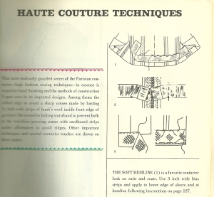 The Vogue Sewing Book from 1963 includes this detail on The Soft Hemline, as part of its section on Haute Couture Techniques.