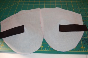 Here they are ready to be added to the base interfacing pieces.