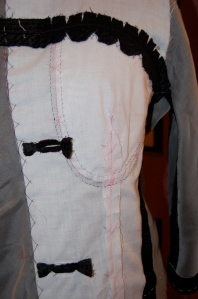 The right front of the jacket, with buttonholes sewn.