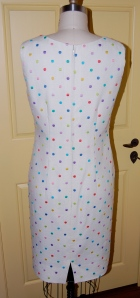 The back of the dress, with its hand-picked zipper.