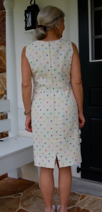 Polka dotted linen sheath