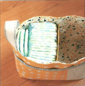 A picture of one of the Noodlehead baskets in the pattern instructions.
