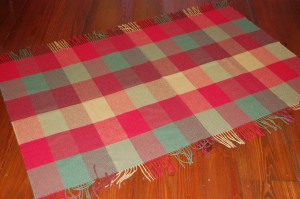 "The dimensions of this small blanket are approximately 36"" long by 62"" wide.  The fringe is 3 1/2"" long."