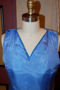 An inside look at the underdress and the overblouse.