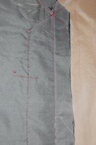 An inside look at the this seam stitched by hand
