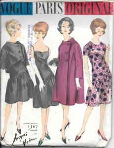 This Jacques Heim design has very unusual seaming in the skirt.  And the short jacket looks like it would be very flattering.  However, this pattern needs just the perfect fabric to showcase the design.