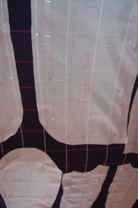 This photo better shows my markings on the silk organza underlining.