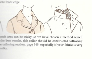 This diagram from The Vogue Sewing Book. c. 1970, Butterick Division, New York, New York, shows a classic notched collar.