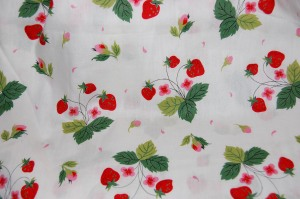 A strawberry print cotton for two little Spring sisters?