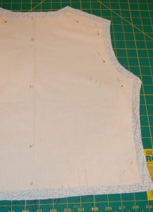 The back bodice piece, ready for thread tracing on the sewing lines.