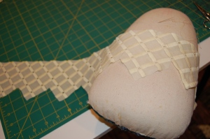 """On the right you can see one """"peak"""" already stitched."""